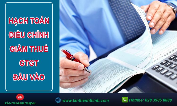 Hạch toán điều chỉnh giảm thuế gtgt đầu vào